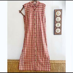 Vintage Plaid Maxi Dress